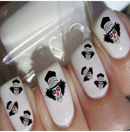 Nail Art Decals Design Set N12 Scary Clown