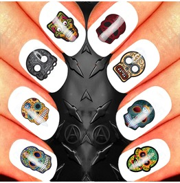 Nail Art Decals Design Set N61 Sugar Skull Assortment 3