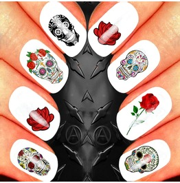Nail Art Decals Design Set N62 Sugar Skull Roses Assortment 4