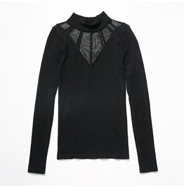 Women's Mesh Paneled Mock Neck Knit Top