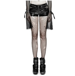 Punk Rave Stage Metal And Rock Zipper Across Faux Leather Shorts K273