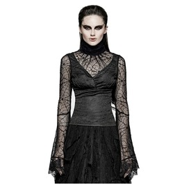 Punk Rave Women's Spider Web Sleeves High Collar V Neck Lace Tops T449