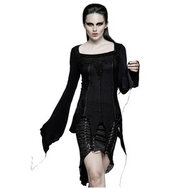 Women's Gothic Asymmetric Square Collar Lace Up Tops T452