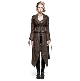 Women's Steampunk Hot Stamping Dovetail Coat With Removable Hem Y731