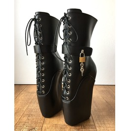 18cm Beginner Lockable Ballet Wedge Boots Hoof Sole Heelless Fetish Pinup