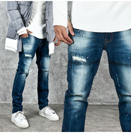 Distressed Patchwork Accent Washed Stain Jeans 244