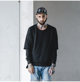 Street Fashion Black Gray Hip Hop Casual Round Collar Sweatshirts