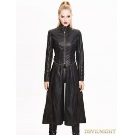 Black And Bronze Gothic Punk Metal Pu Coat For Women Ct02902