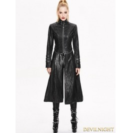 Black And Sliver Gothic Punk Metal Pu Coat For Women Ct02901