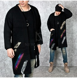 Hand Painting Accent Quarter Sleeve Long Cardigan 83