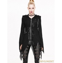 Black Gothic Punk Asymmetric Hooded Sweater For Women Sr003