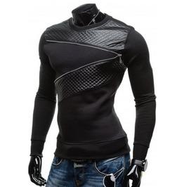 Men Plus Size T Shirt Zipper Decoration Long Sleeve Plus Size Leather