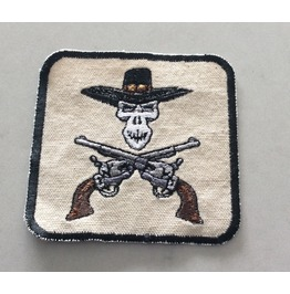 Embroidered Western Cowboy Skull With Six Shooters Iron/Sew On Patch