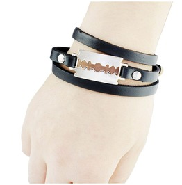 Leather Bracelet With Razor Blade