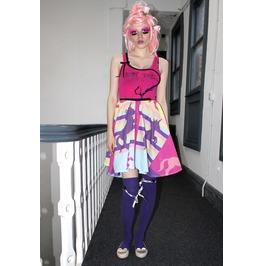 Pretty Disturbia Hot Pink Purple Kitsch Unicorn Print Handmade Full Skirt