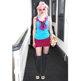 Pretty Disturbia Turquoise Harajuku Style Pink Kitsch Vest Top Bow Unique