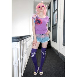 Pretty Disturbia Purple Lace Punk Grunge Kitsch Unique Slouchy Crop Top