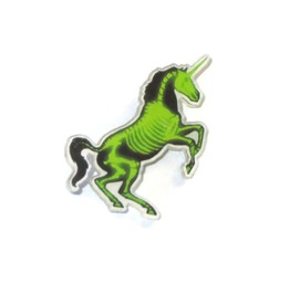 Neon Lime Green Black X Ray Skeleton Unicorn Horse Skull Pin Brooch Jewelry