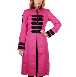 New Women Gothic Vampire Band Jacket Rocker Long Pink Trench Coat