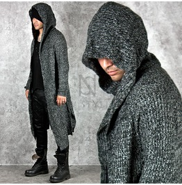 Avant Garde Knit Hood Long Charcoal Cardigan 75