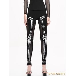 Black Gothic Skull Pattern Mesh Legging For Women Pt036