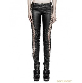 Black Leather Gothic Punk Binding Side Pencil Pants For Women K 274