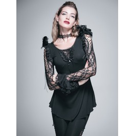 Gothic Round Neck Full Lace Sleeves Black Top
