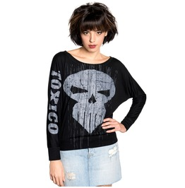Toxico Clothing Trans Skull Ls Batwing Tee (Black)