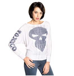 Toxico Clothing Trans Skull Ls Batwing Tee (White)