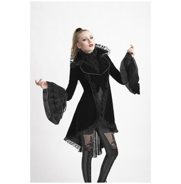 Ladies Dark Omen Velvet Coat Black Gothic Victorian Lace Vampire Free Ship