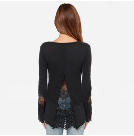 Women's Lace Cut Slim Fitted Tops