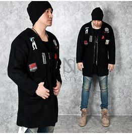 Multiple Wappen Accent Quarter Sleeve Black Knit Zip Up Cardigan 84