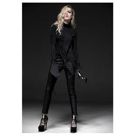 Gothic Asymmetric Long Sleeves Black Top