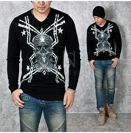 Skull Face Printed Black Slim Knit Shirts 613