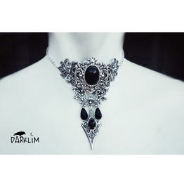 Gothic Choker In Sterling Silver Swarovski Crystals Black In The Dark.