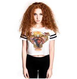 Toxico Clothing Tattoo Goat Cropped Mesh Tee