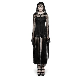 Punk Rave Spider Web Lace Hooded Maxi Dress Y732