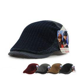 19e35fde936 Men s Vintage Winter Flat Cap Splice Beret Hat