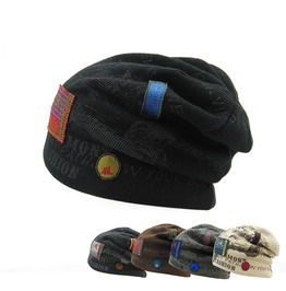 Men's Winter Hats Patchwork Cap Letter Knitted Ski Beanies