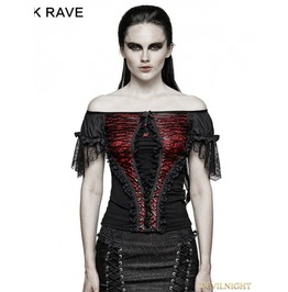 T 446 Rd Black And Red Gothic Lace Wide Boat Neck T Shirt For Women
