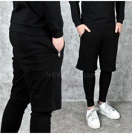 Zipper Pocket Accent Black Leggings Sweatpants 217