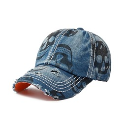 Denim Baseball Cap Skull Print