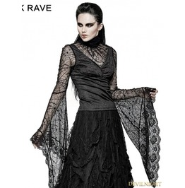 T 449 Black Gothic High Collar Spider Web Flare Sleeves T Shirt For Women