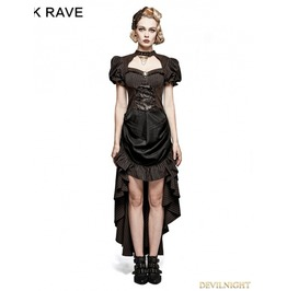 Q 315 Brown Steampunk Burn Out Gear Shape Dress For Women