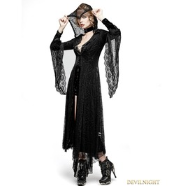 Y 732 Black Gothic Spider Web Sun Block Long Coat For Women