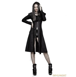 Y 730 Black Heavy Gothic Punk Fly Sleeve Coat For Women