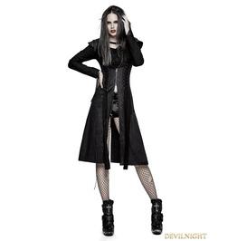 Y 730 Black Heavy Gothic Punk Fly Sleeve Coat For Women