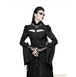 Y 729 Black Sexy Gothic Double Sleeve Shirt For Women