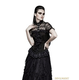 Y 723 Black Gothic Steampunk Ruffles Shirt For Women