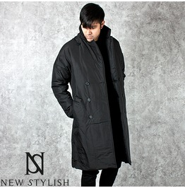 Black Double Breasted Padded Over Coat 107